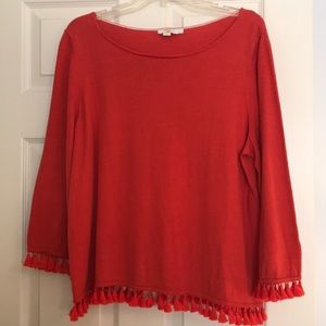 Boden Cotton Sweater with Pompom Fringe Detail EUC
